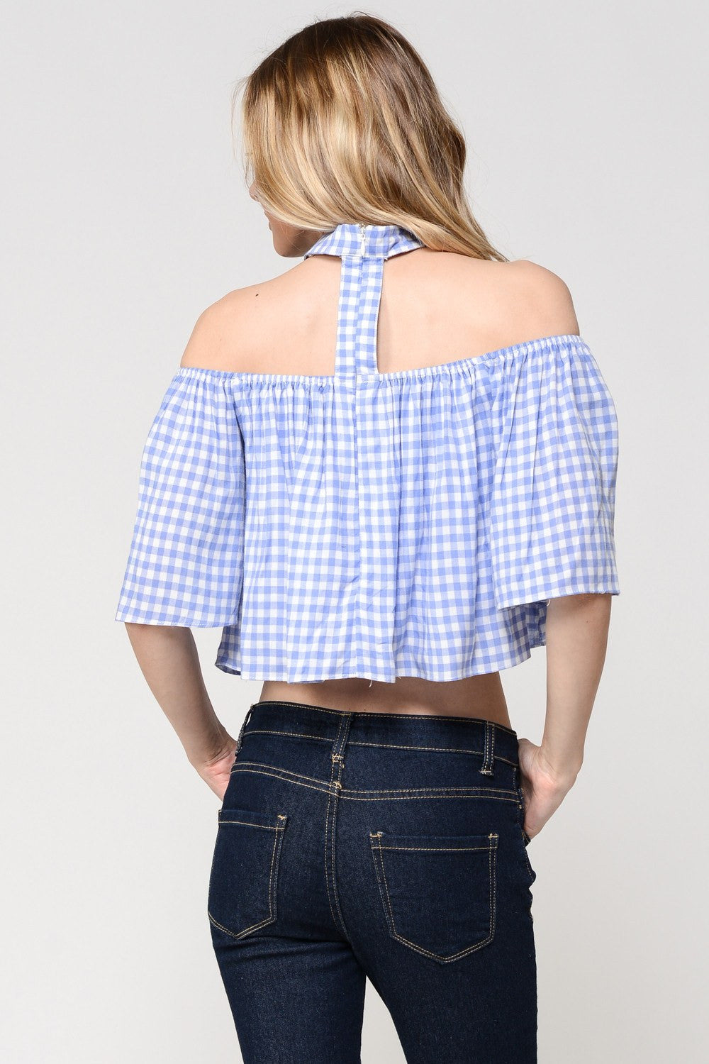 Gingham Choker Crop Top