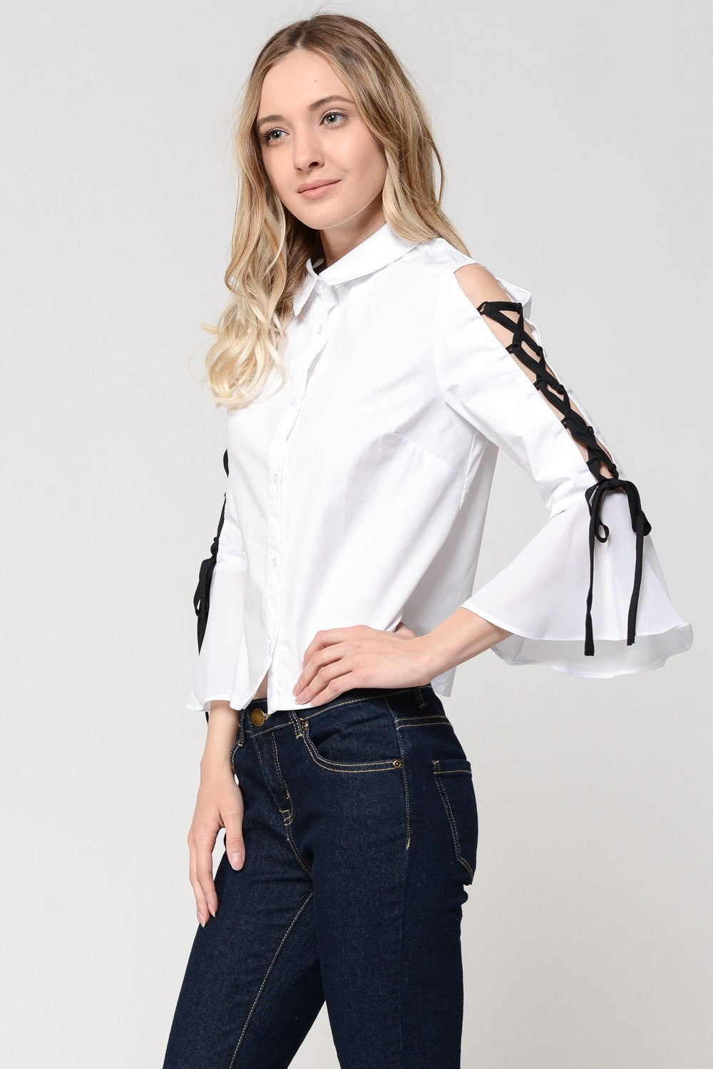 Ribbon Tie Sleeves Button Down Shirt