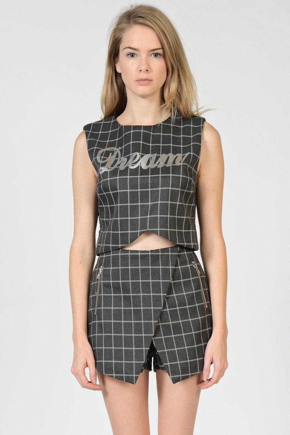 "Grey Grid ""Dream"" Crop Top"