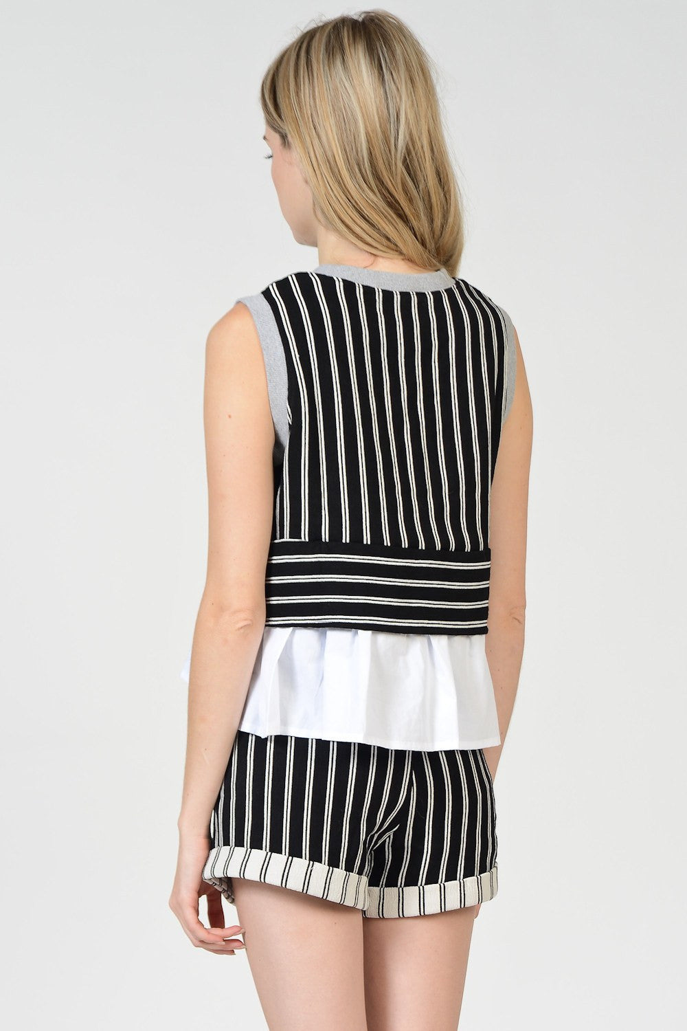 Striped Ruffle Sleeveless Top
