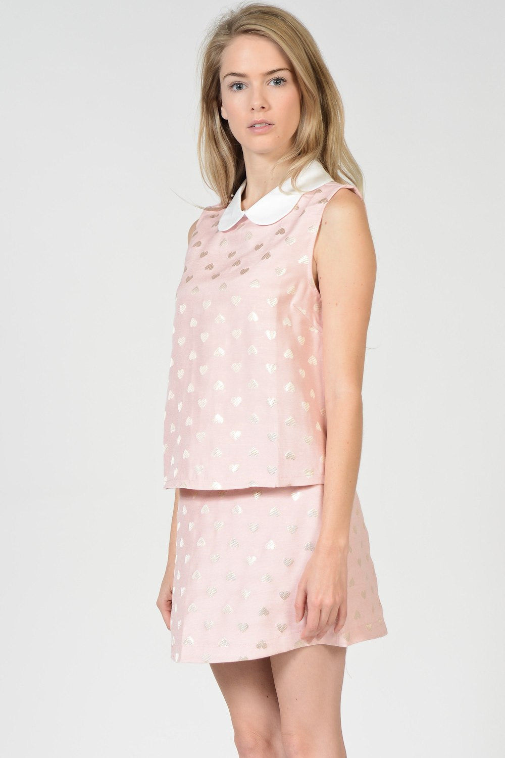 Sweet Hearts Sleeveless Collared Tops