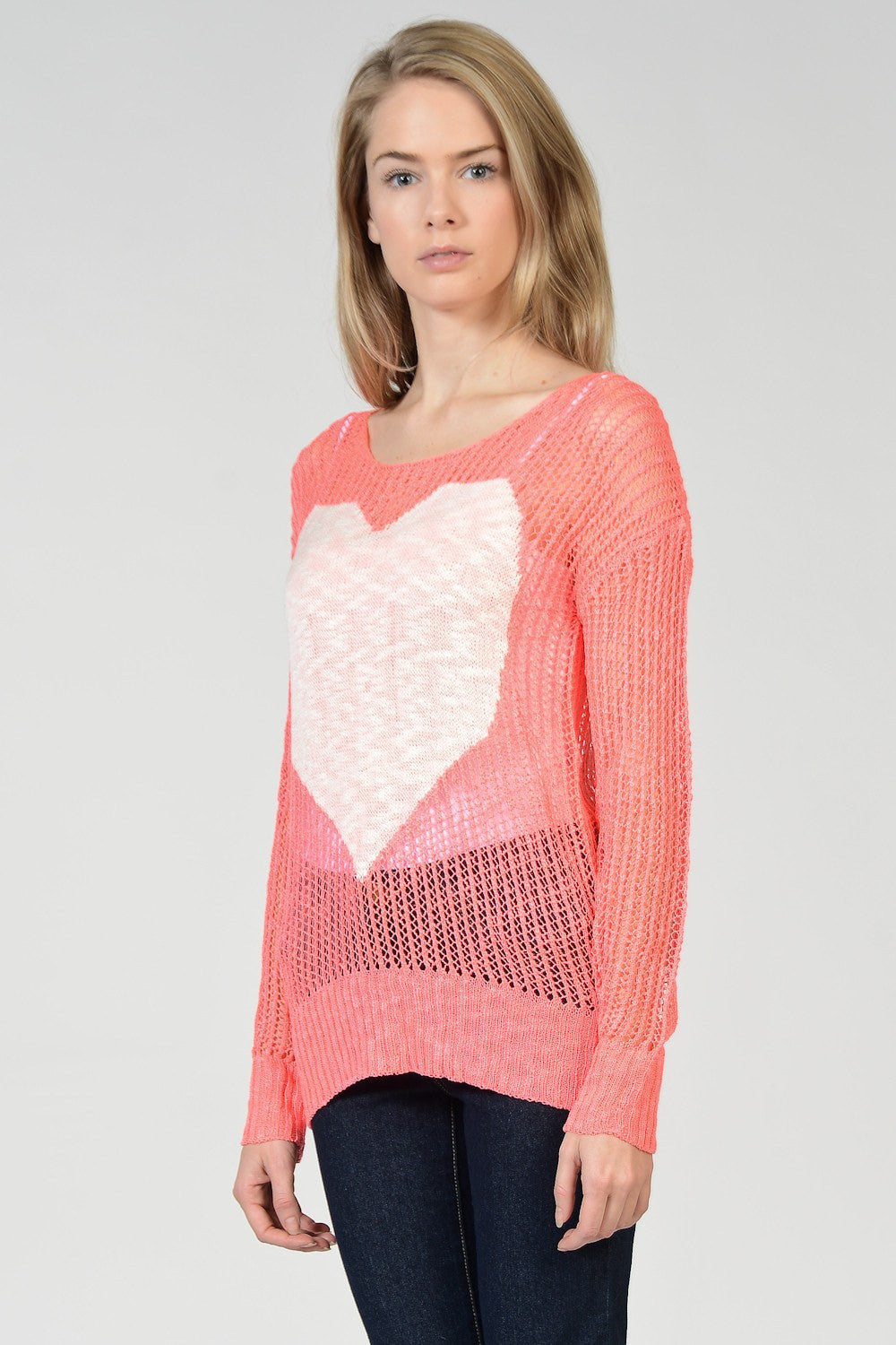 Big Heart Mesh Out Sweater