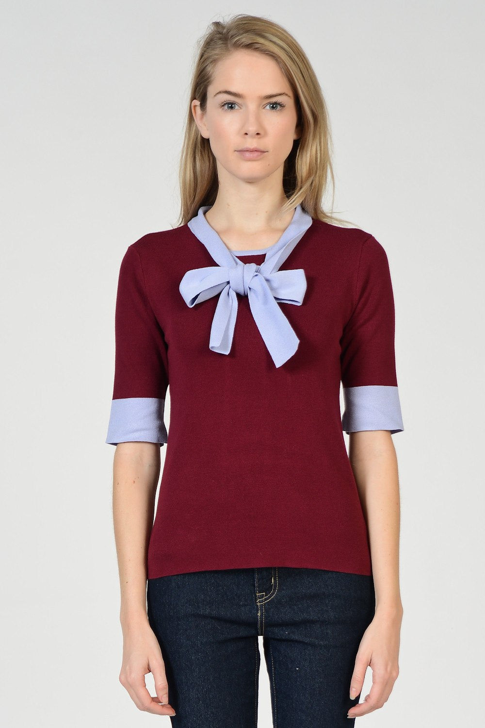 Colorblock Bow Tie Top