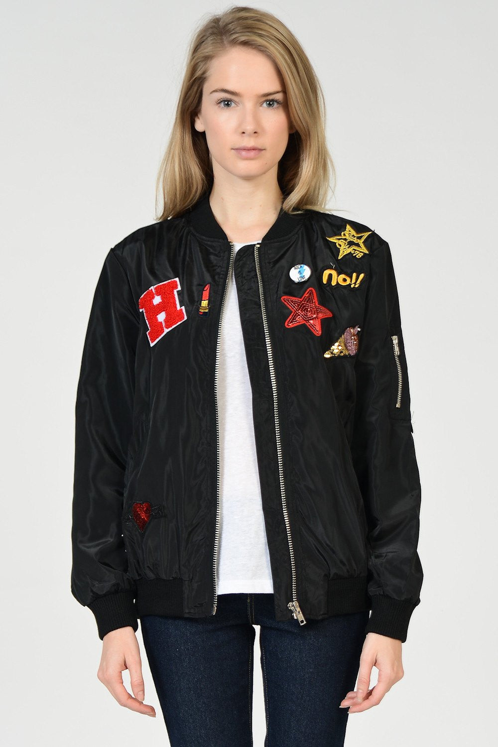 Multi Badges Bomber Jacket