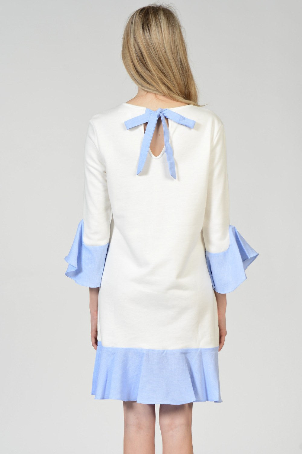 Blue Ruffle White Sweater Dress