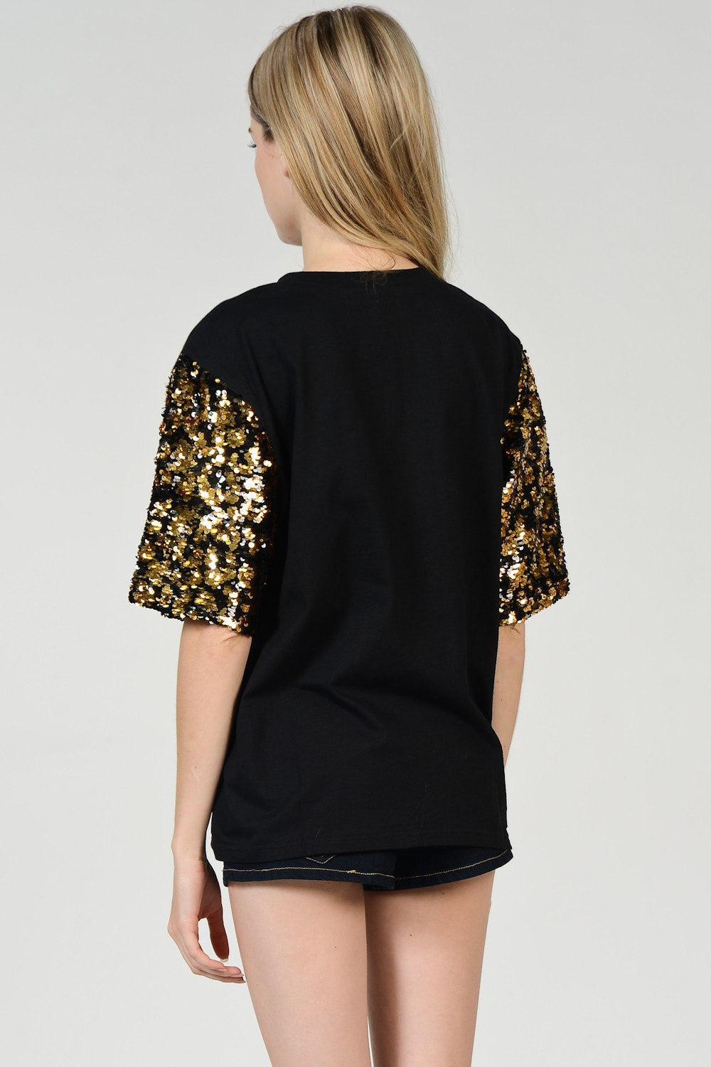 Gold Sequin Detail T-Shirt