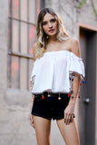 Pom Pom Off Shoulder Top