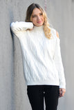 Ivory Cable Knit Cold Shoulder Sweater