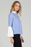 Button Down Pleated Sleeve Stripe Shirt