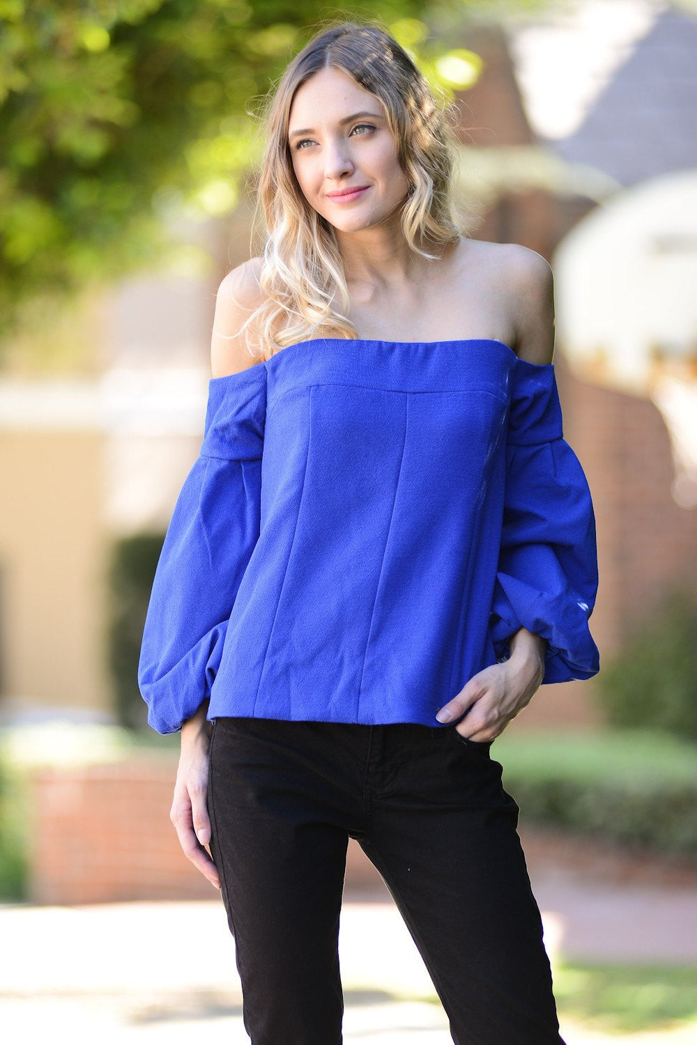 Blue Off Shoulder Balloon Sleeve Top