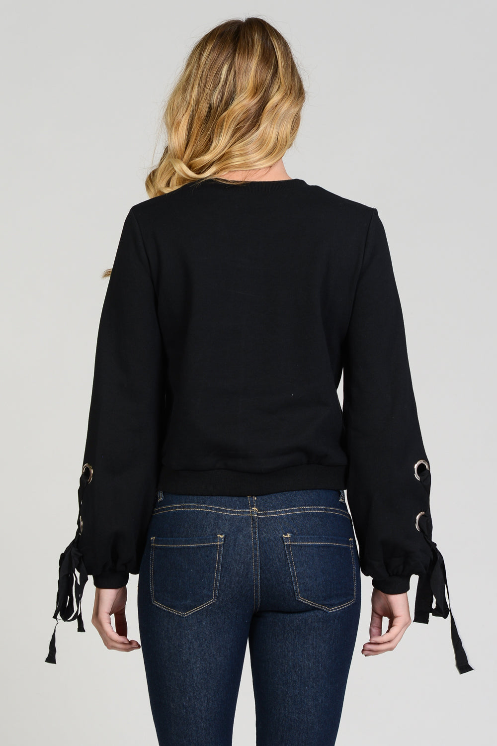 Cross Tie At Cuff Sweatshirt