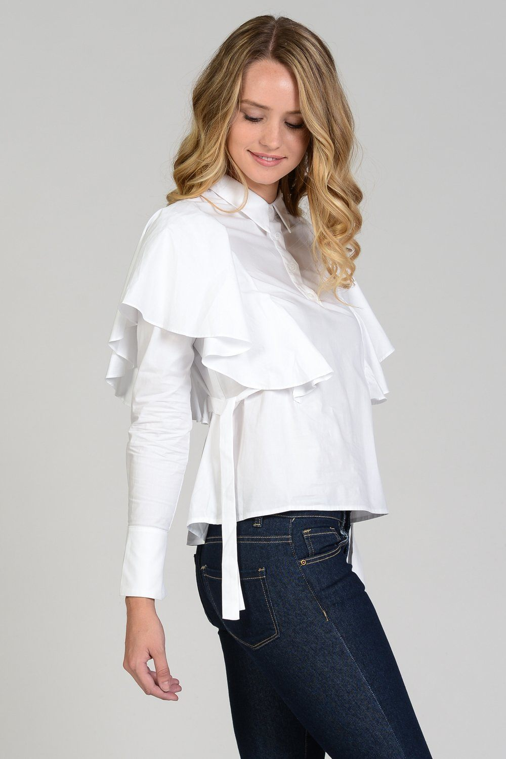 Shoulder Ruffle Poplin Shirt