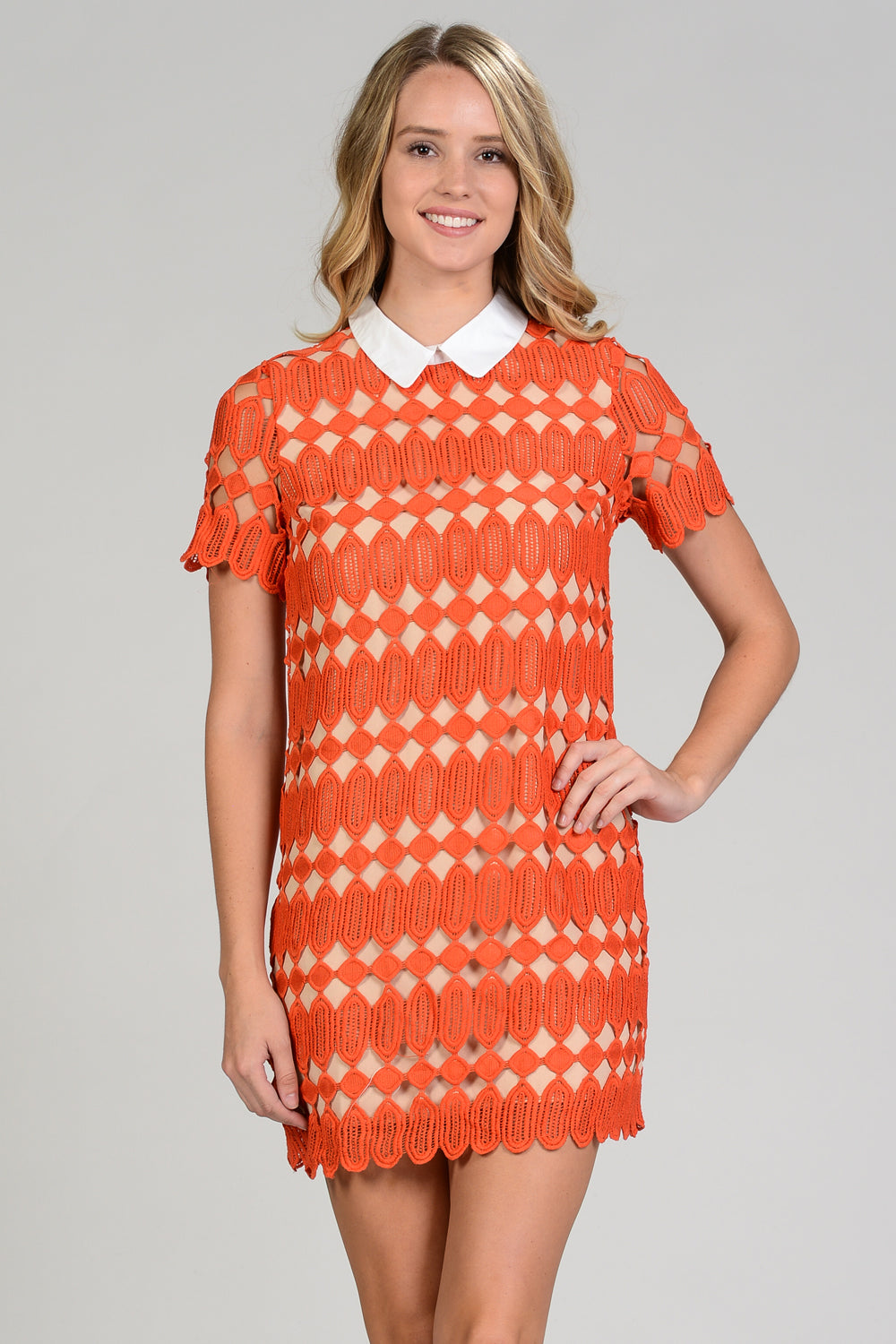 Dusty Orange Contrast Lace Dress