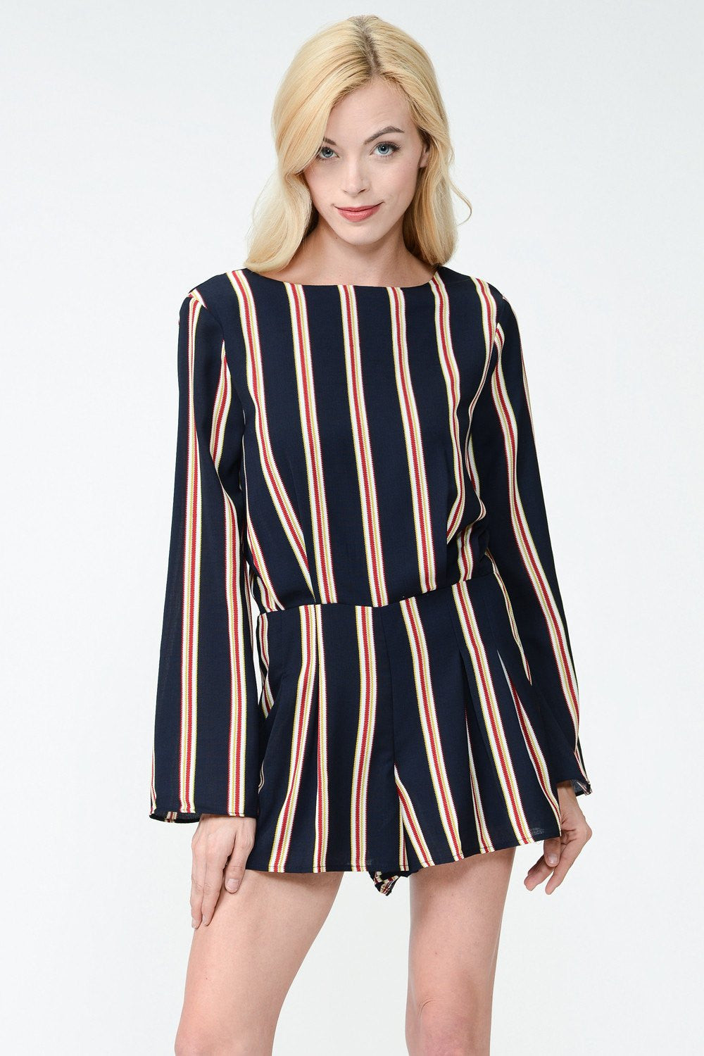 STRIPED V BACK ROMPER