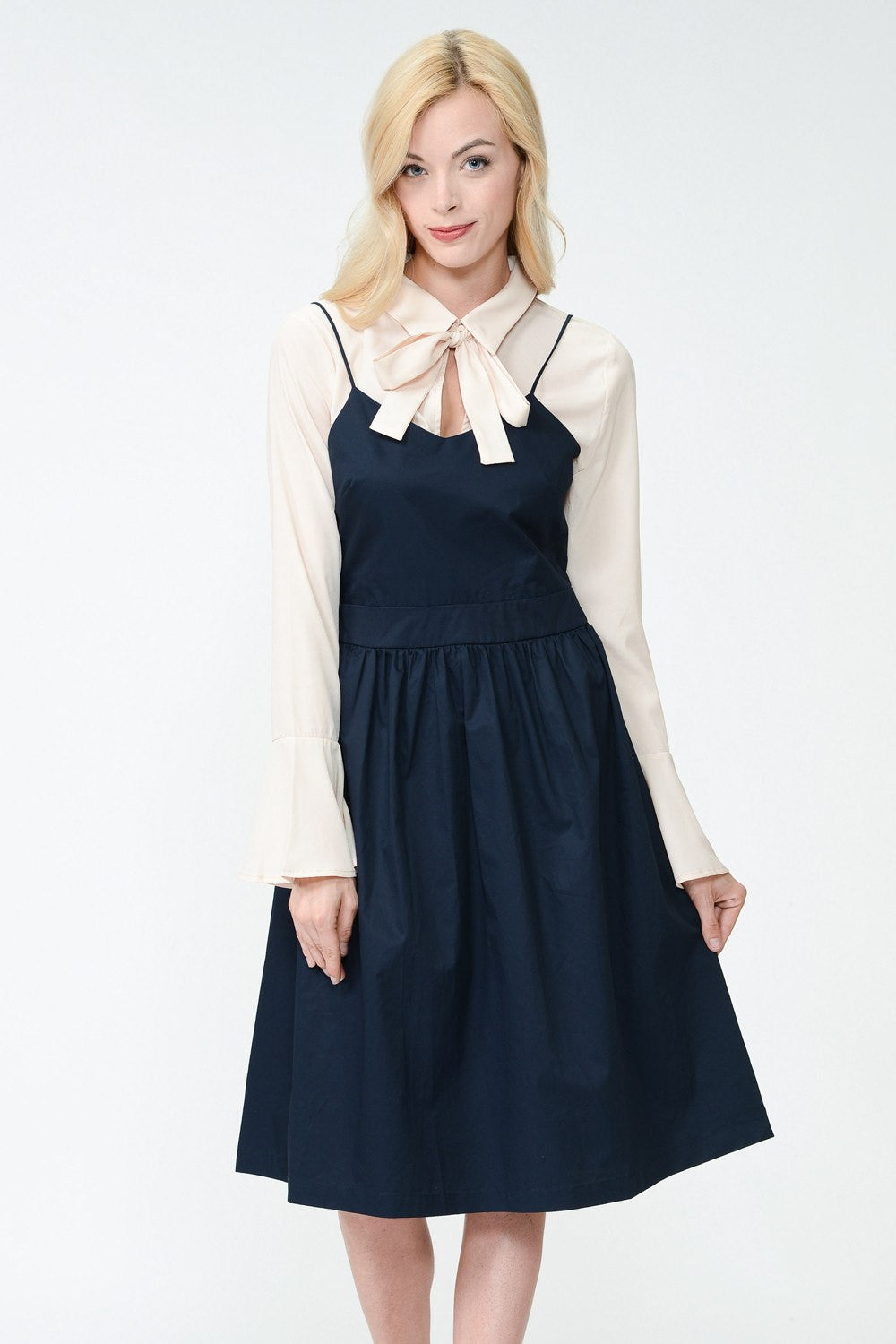 NAVY MAISIE MIDI DRESS