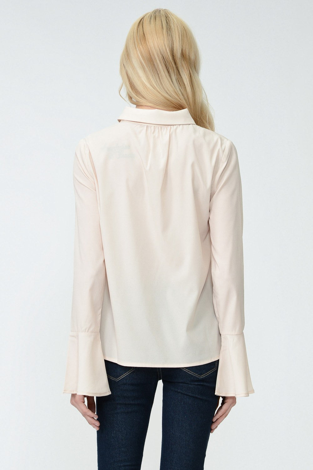 Champagne Chiffon Blouse with Tie
