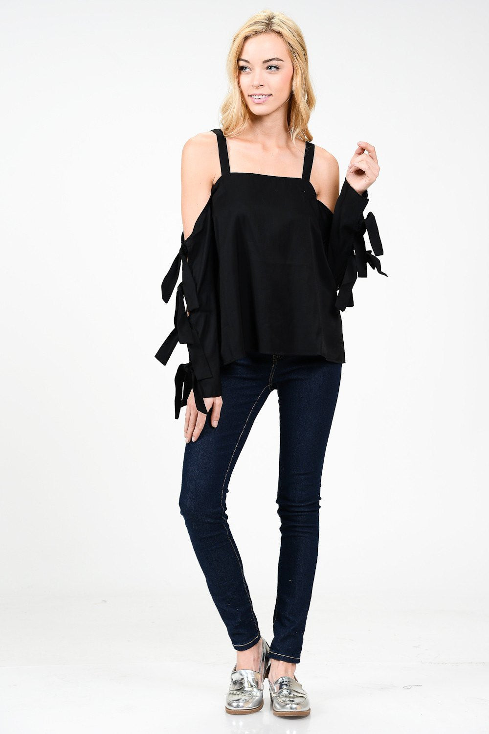 Tied Ribbon Sleeve Cold Shoulder Top