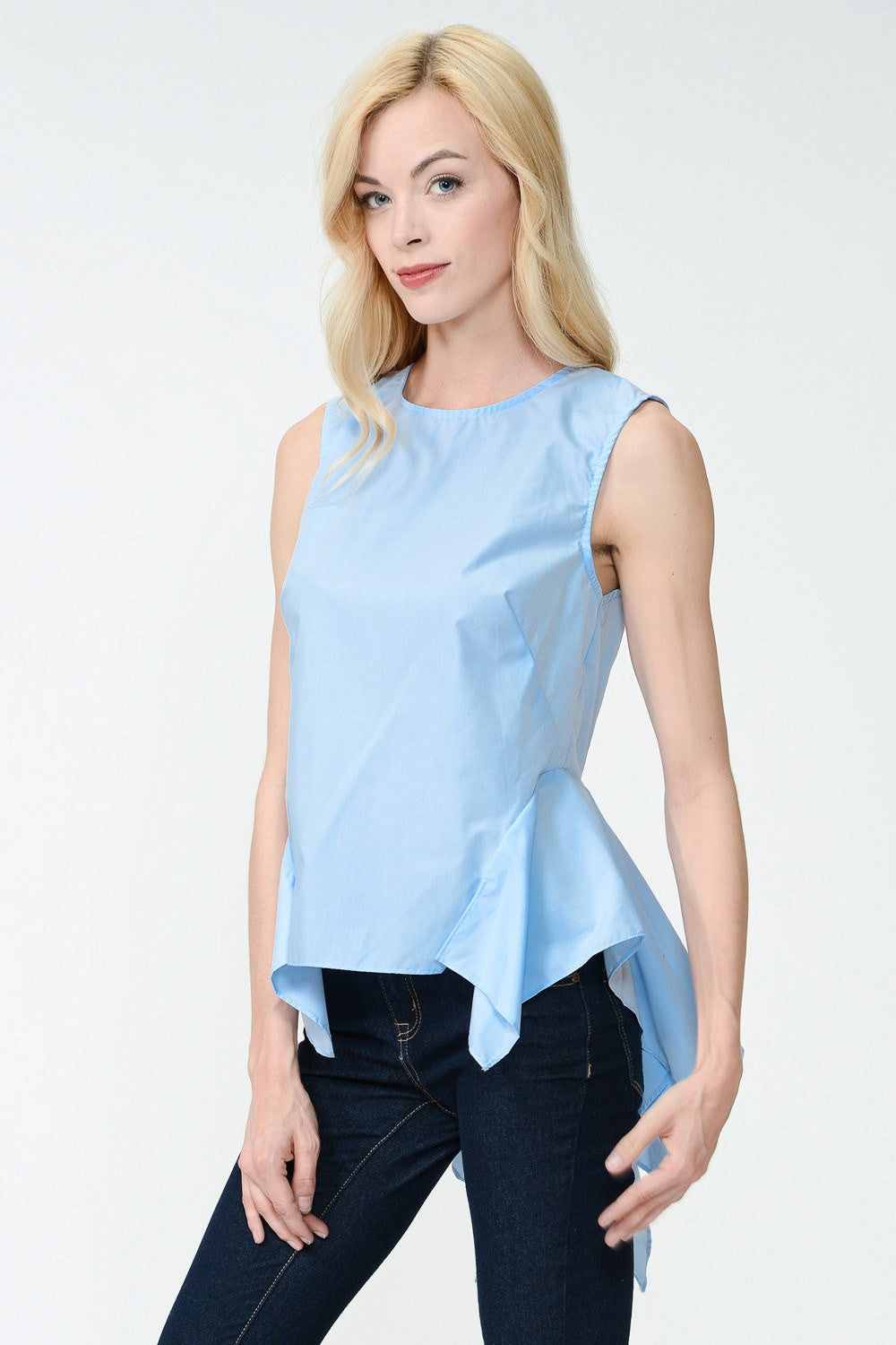 Back Tail Sleeveless Dress in light blue from The Closet Laboratory. Women's Fashion and Apparel.