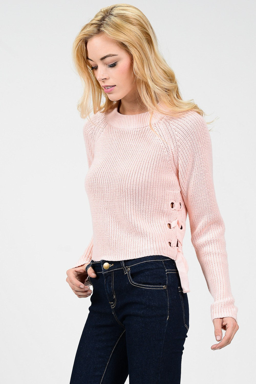 Blush Pink Knit Sweater with Side Ribbon Tie