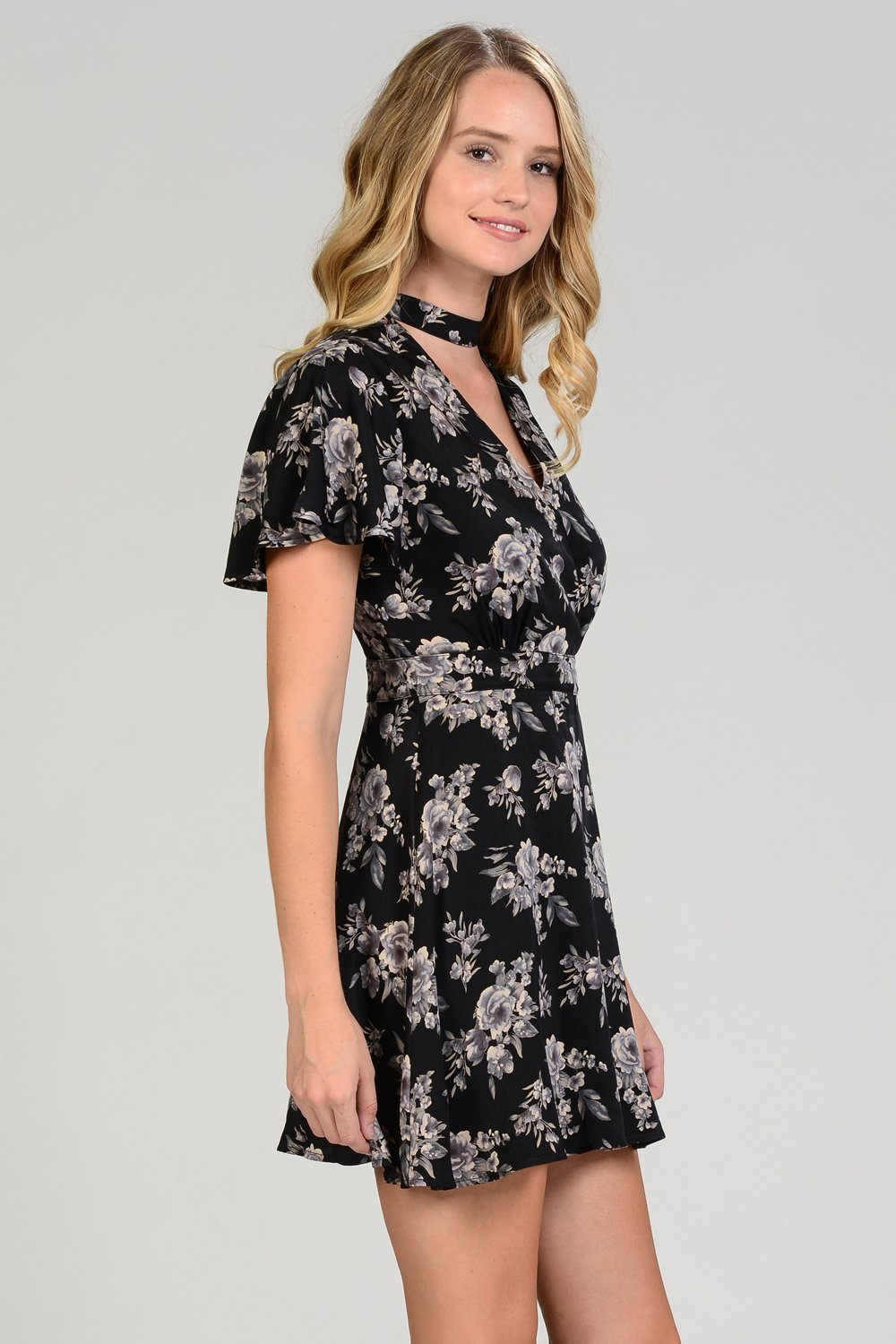 Floral Choker Neck Wrap Dress
