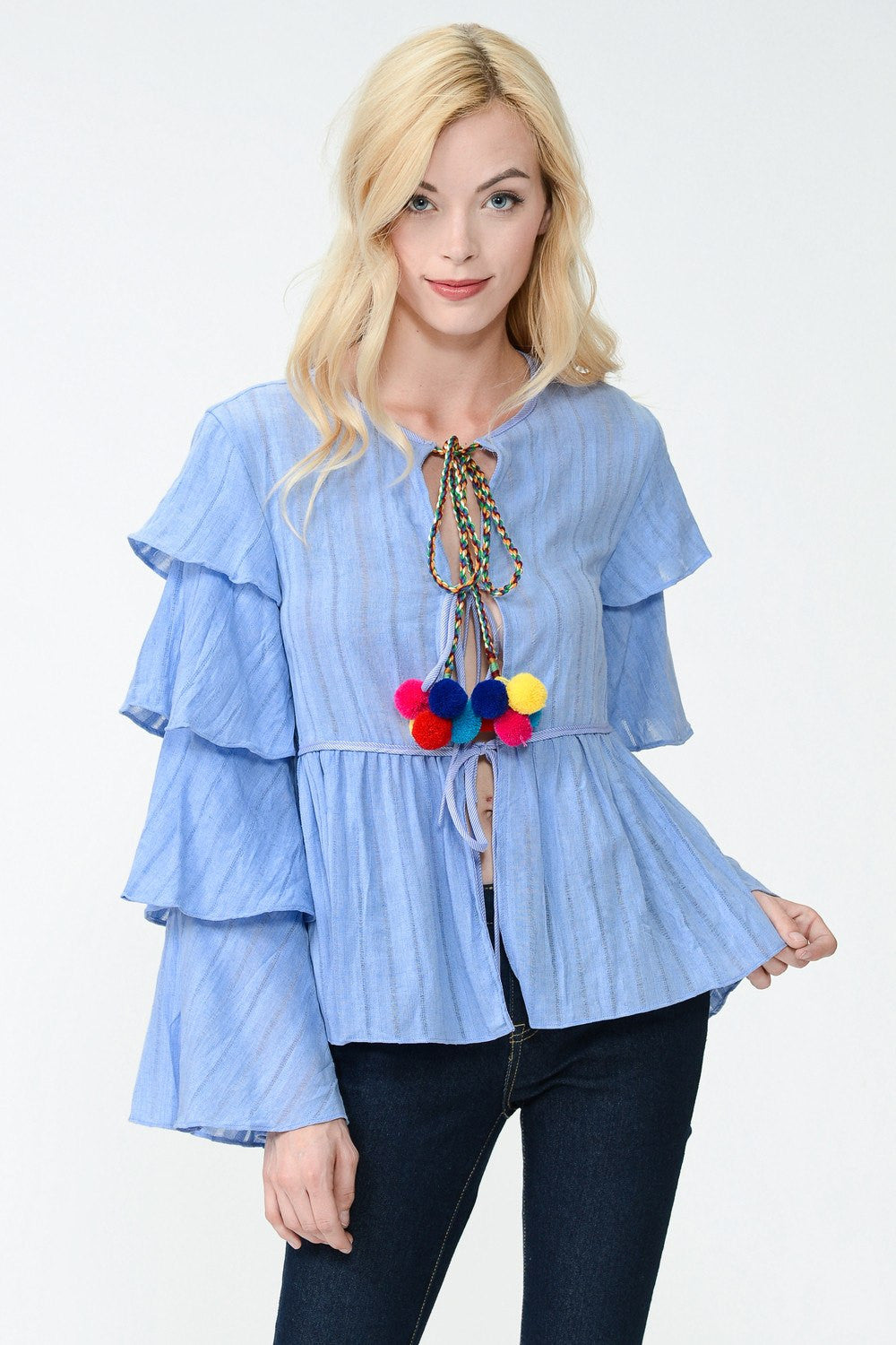 Ruffle Detail Pom Pom Jacket Top
