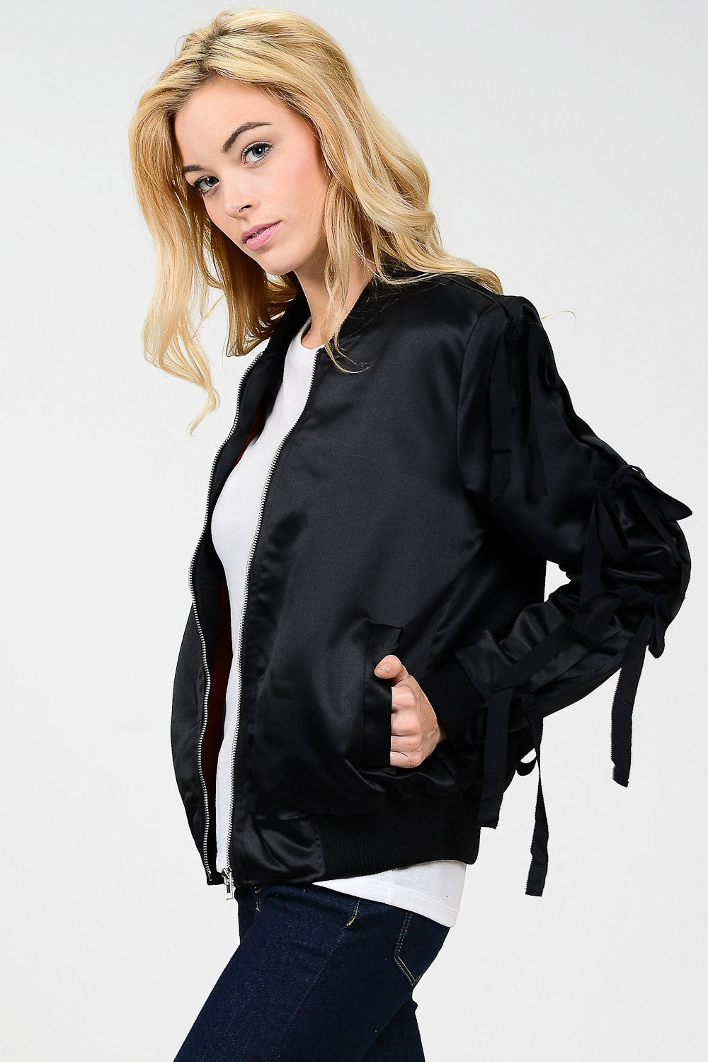 Tied Ribbon Sleeves Bomber Jacket