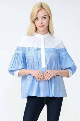 Gingham Ruffle Poplin Top