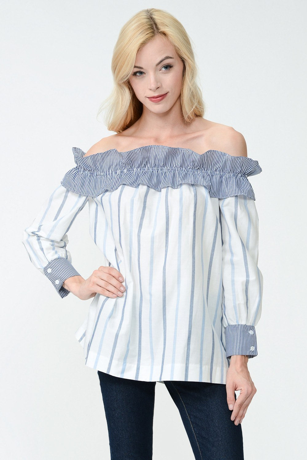 STRIPE & RUFFLE OFF SHOULDER TOP