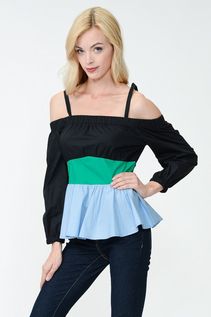 Off Shoulder Contrast Color Flared Top