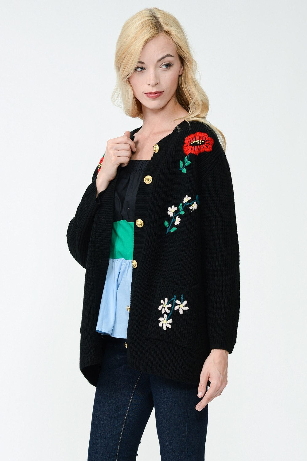 Embroidery Detail Long Knit Jacket