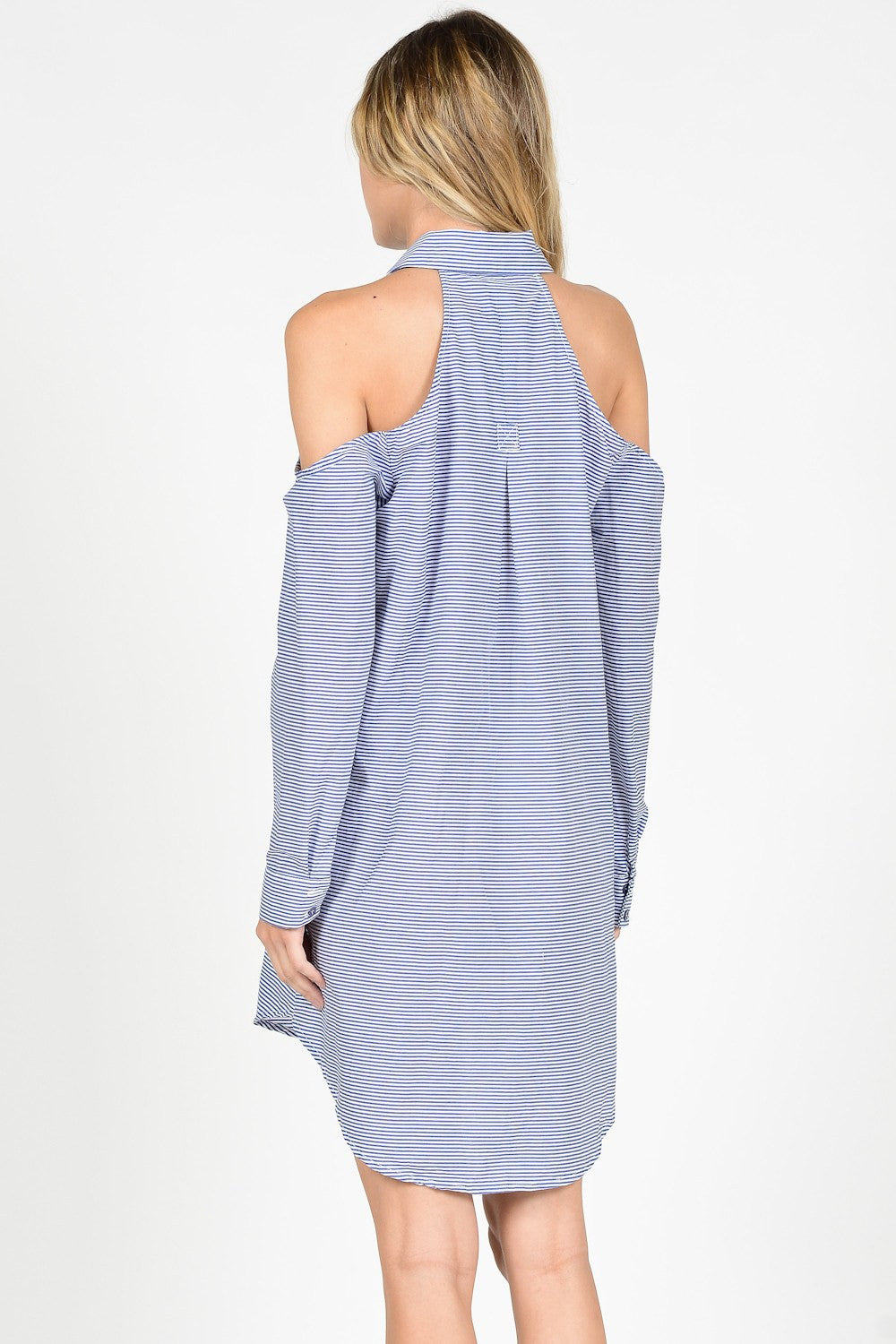 Blue Stripes Cold Shoulder Shirt Dress