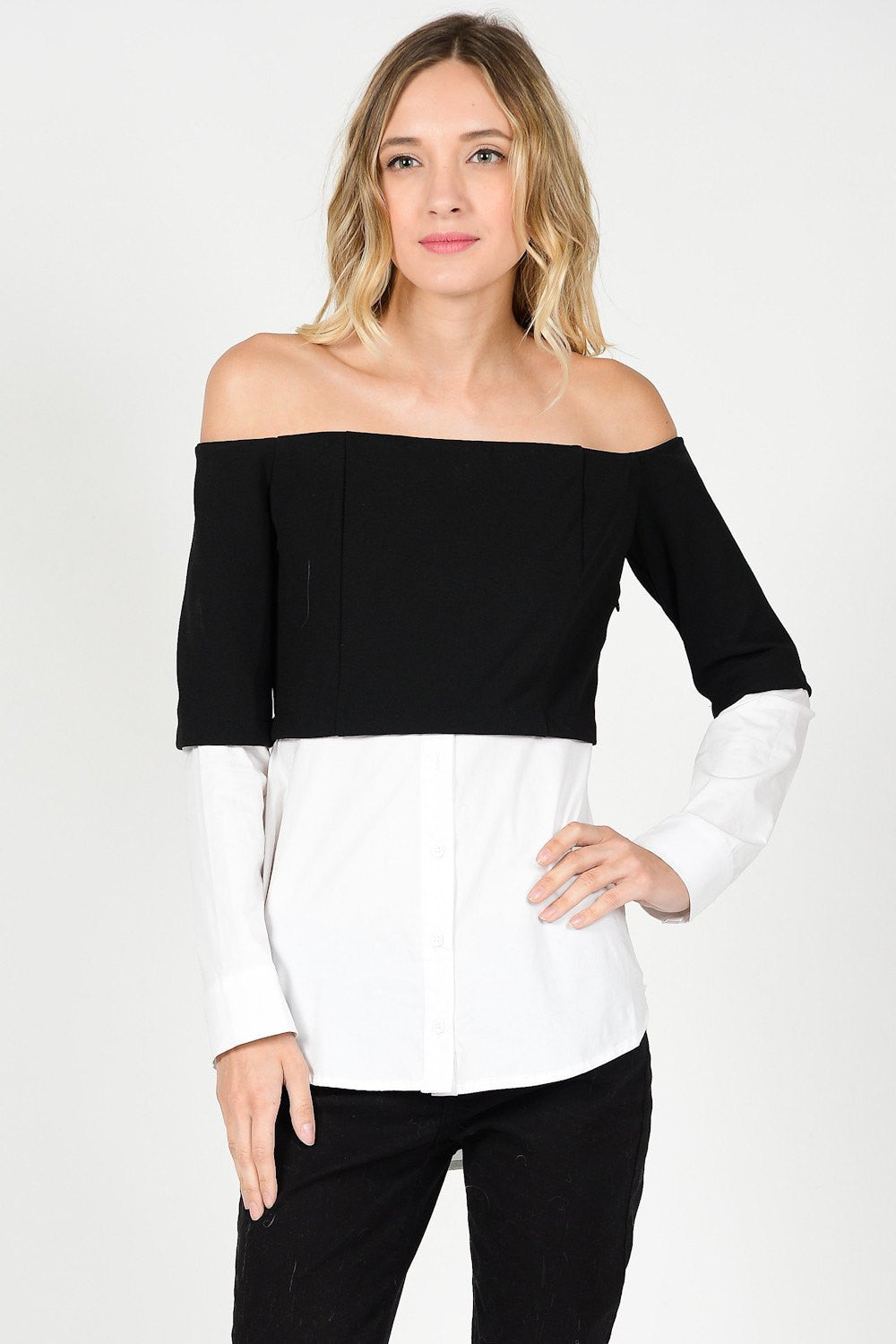 Off Shoulder Contrast Color Top