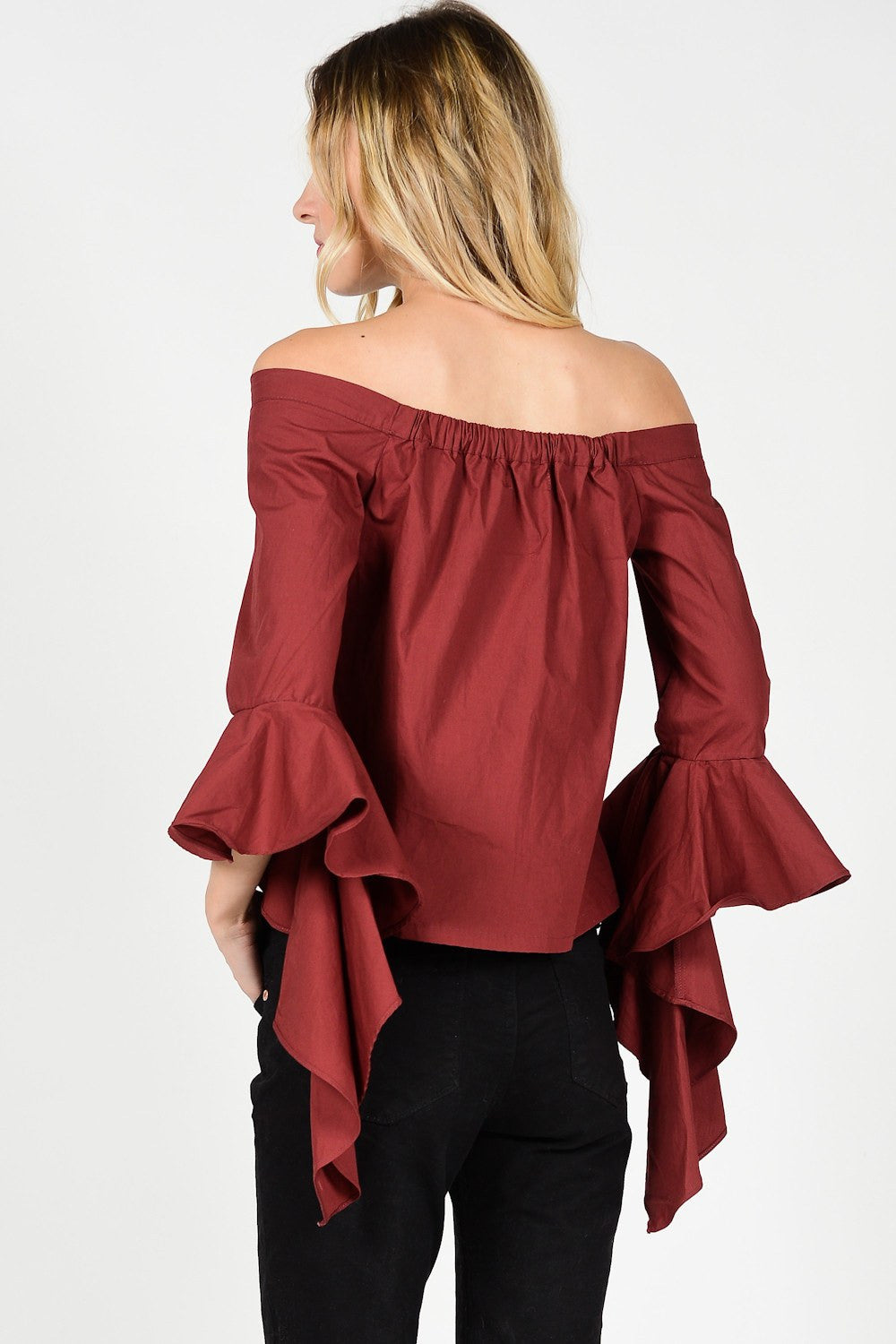 Burgundy Off Shoulder Top with Cascade Sleeve