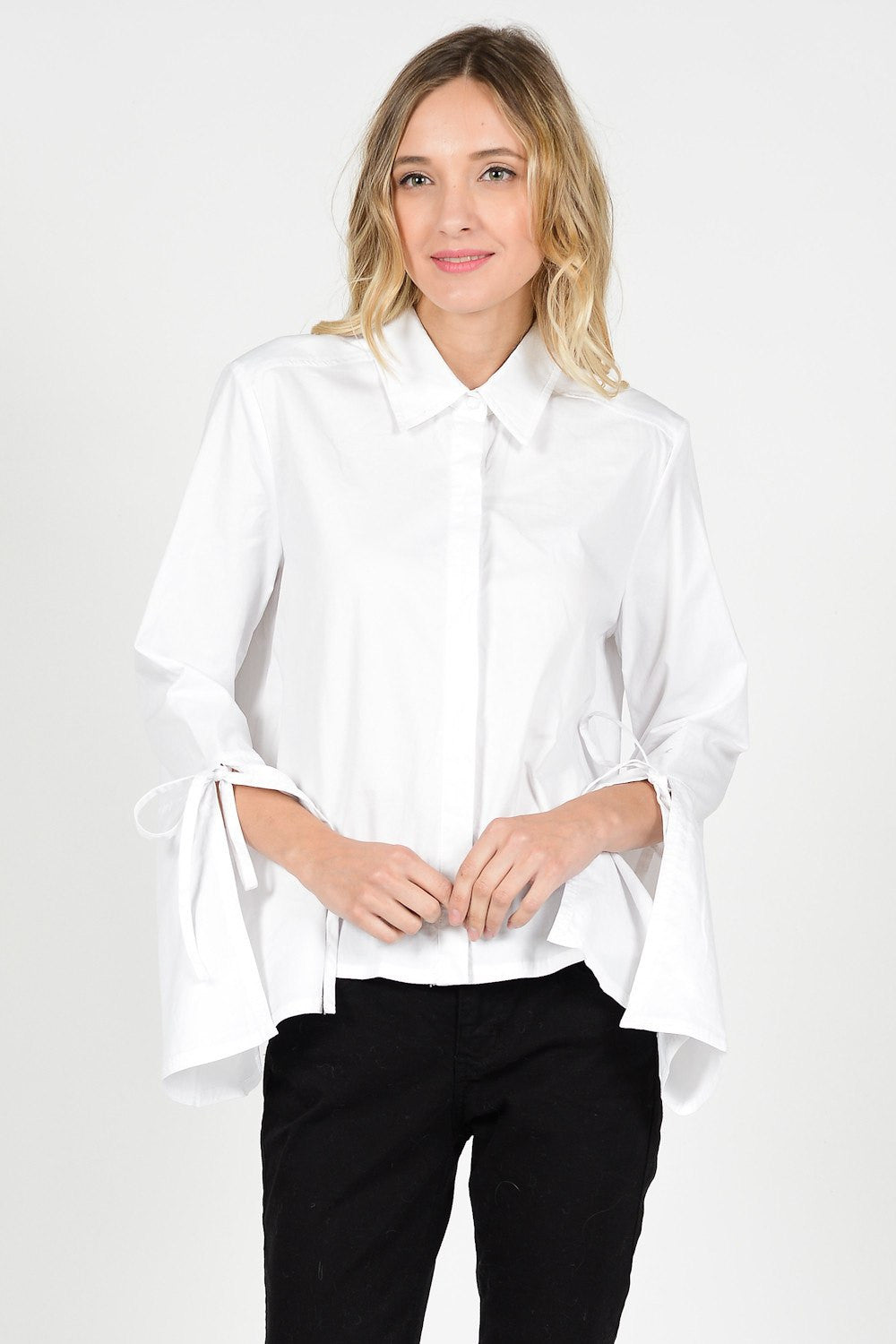 White Wide Sleeve Cuff Ribbon Tie Shirt