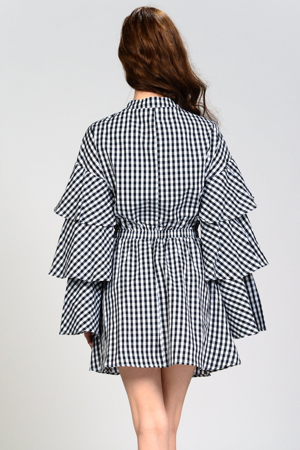 Gingham Ruffle Sleeve Dress