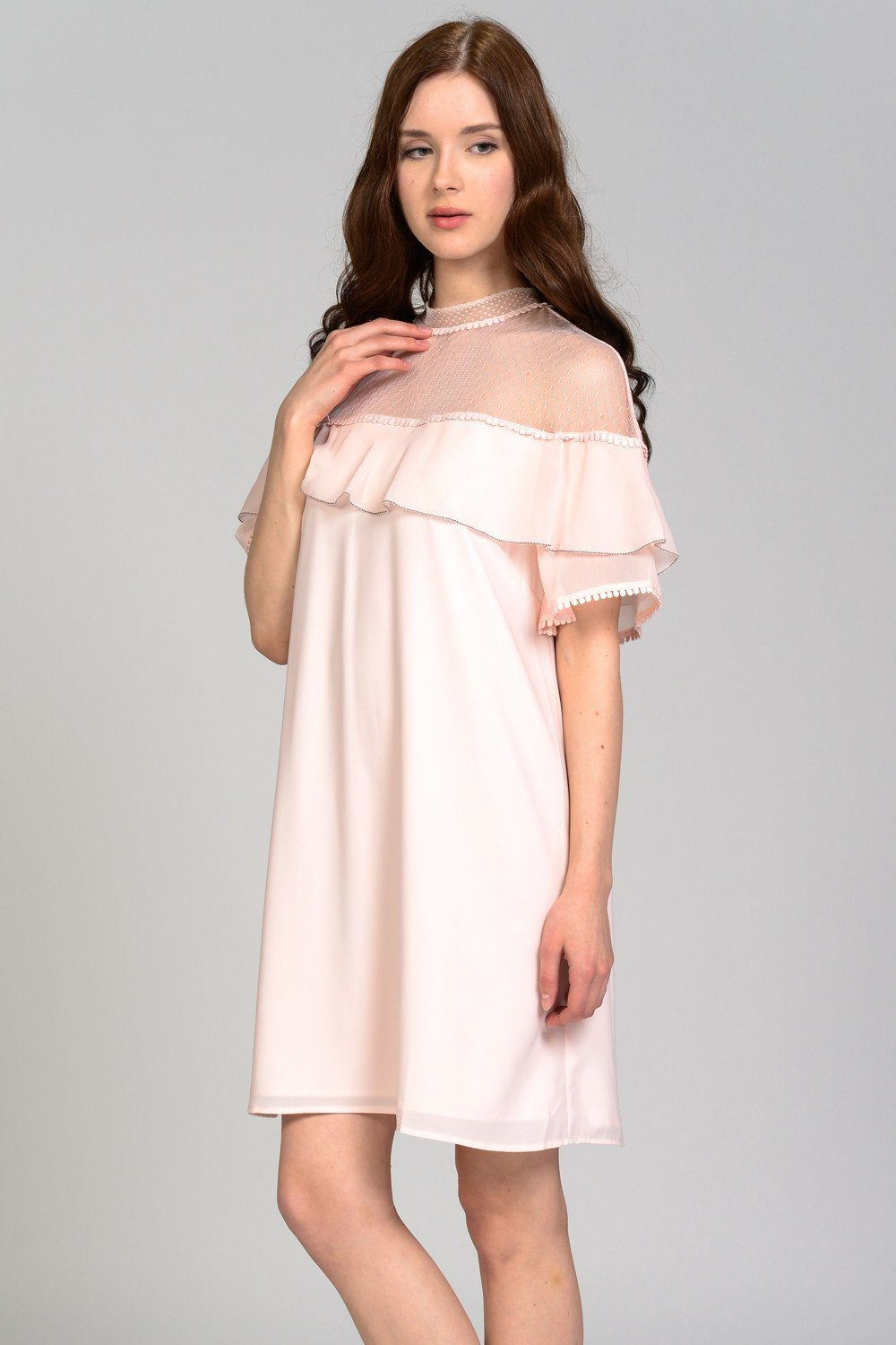 Antoniette Sheer Ruffle Detail Dress