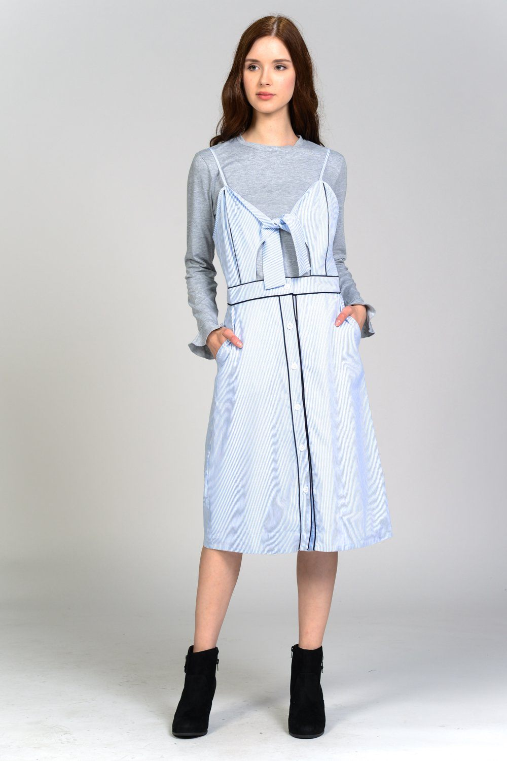 Stripe Button Down Two-Piece Maxi Dress