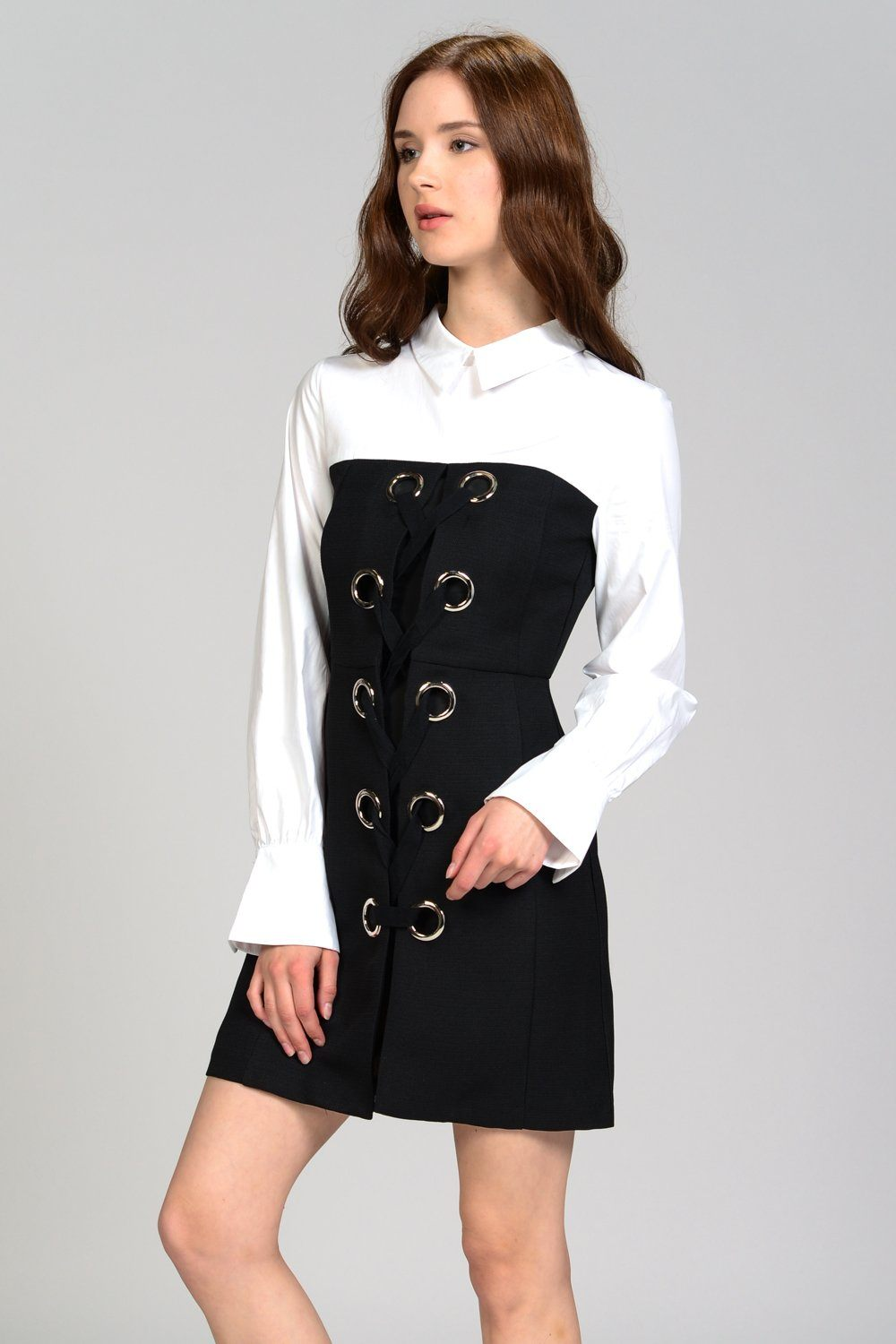 Double Layer Front Lace Up Shirt Dress
