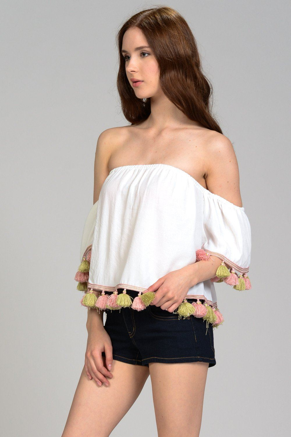 Color Tassel Off Shoulder Top