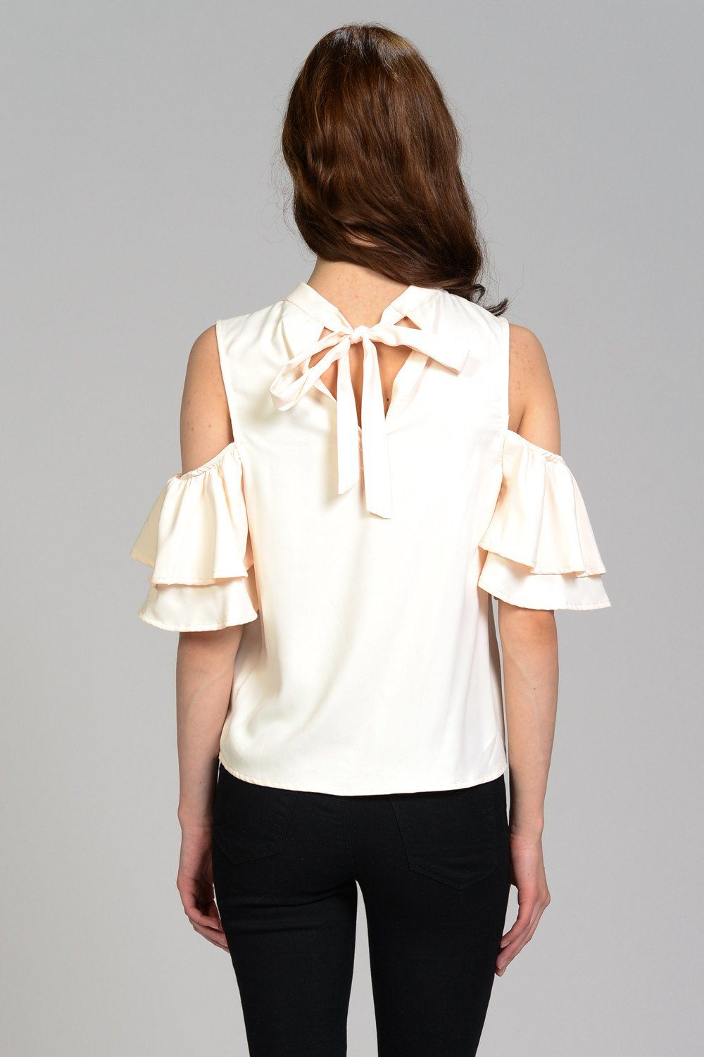Layered Ruffle Cold Shoulder Top