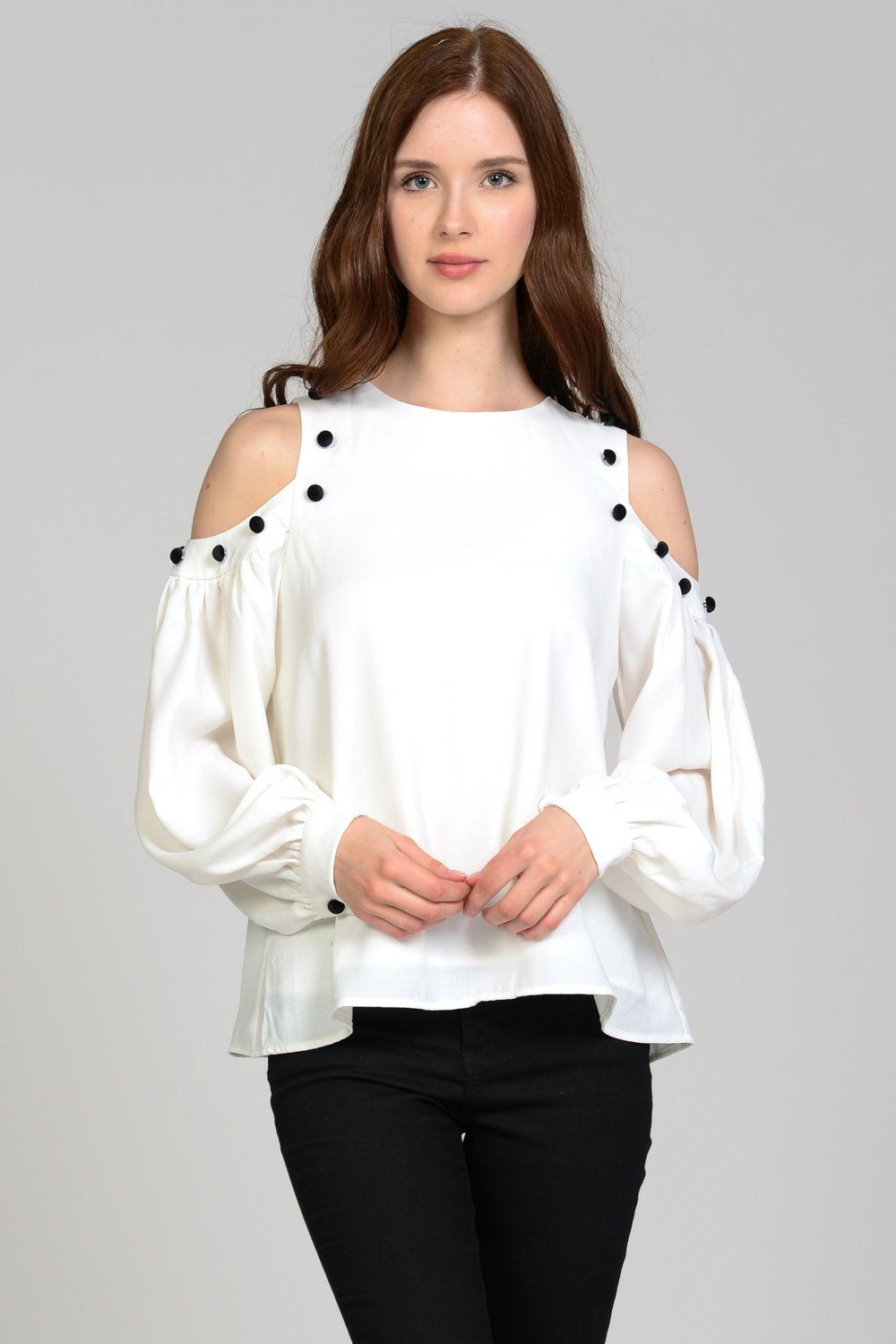 Velvet Button Cold Shoulder Top