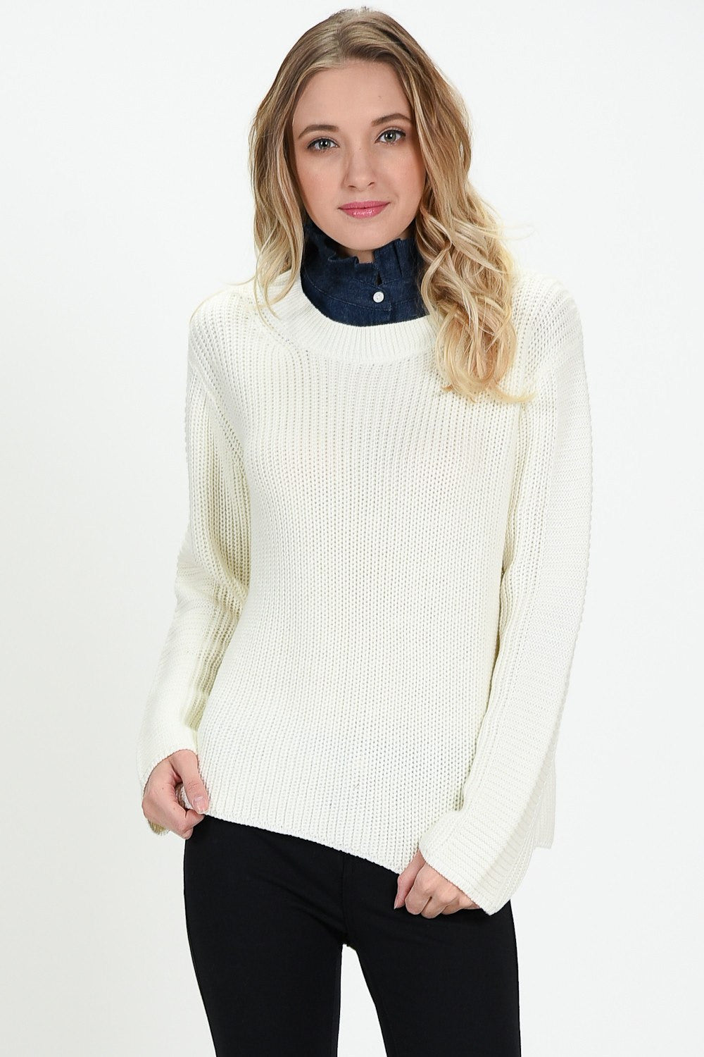 Knit Down Sweater with Denim Ruffle Collar