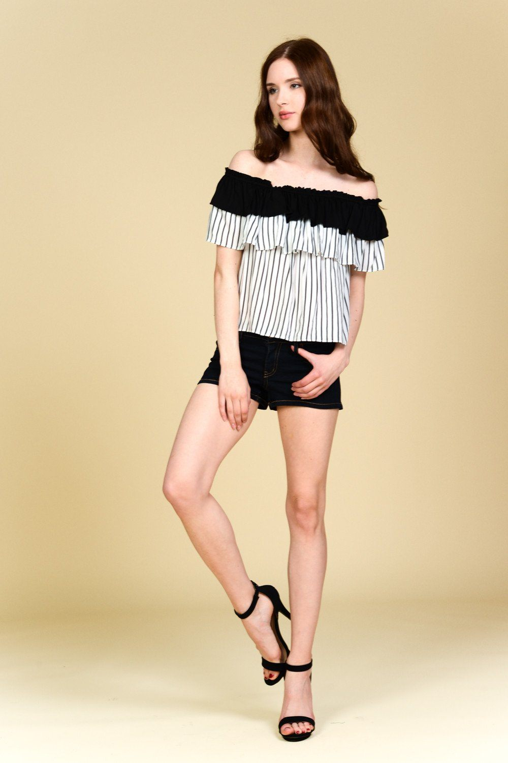 OTS Stripes Ruffle Crop Top