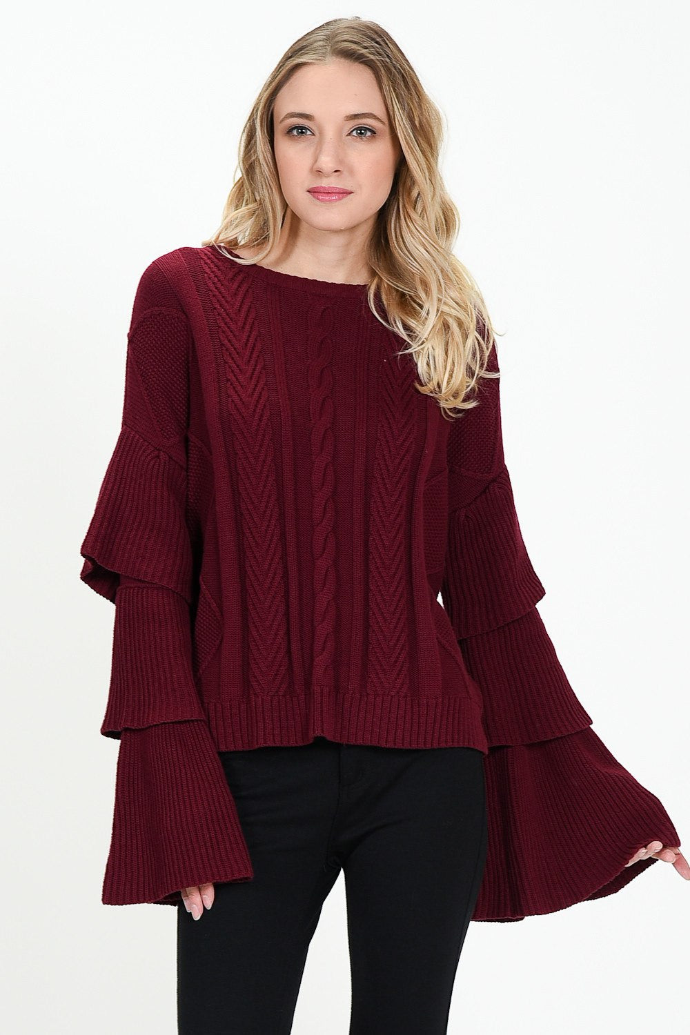RUFFLED LAYERED SLEEVE SWEATER