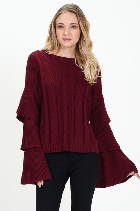 Half Ruffle Sleeve Cold Shoulder Top