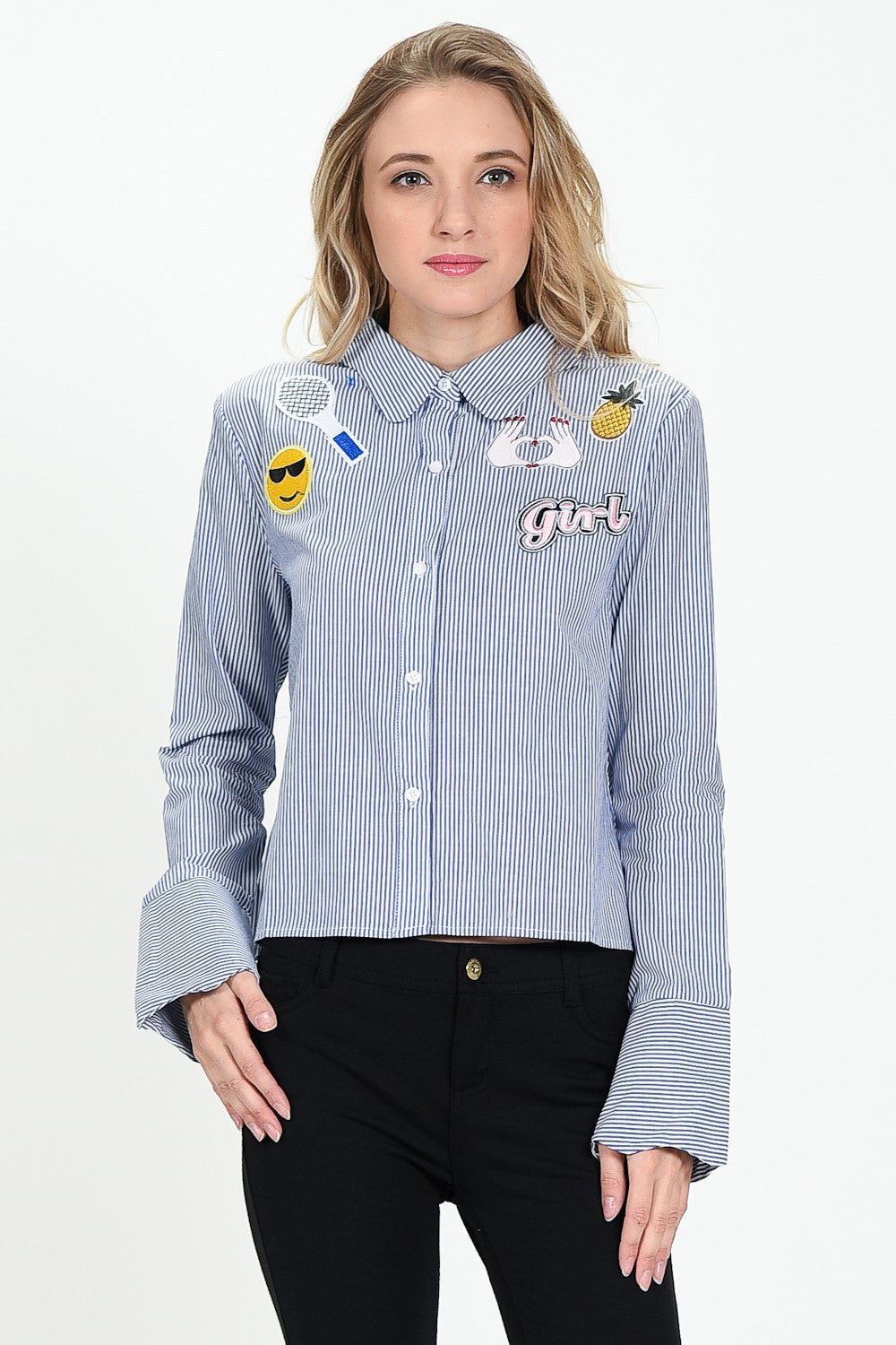 Badges Scallop Collar Stripe Shirt