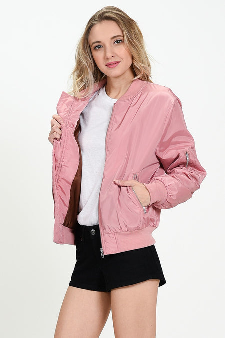Rose Embroidered Bomber Jacket