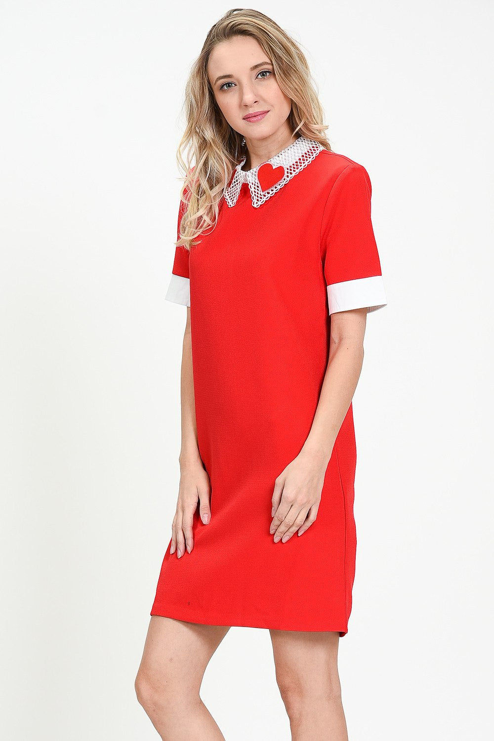 Love Lace Trim Collar Dress