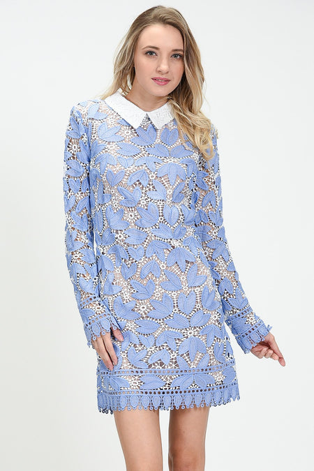 Detail Lace Shirt Dress Set