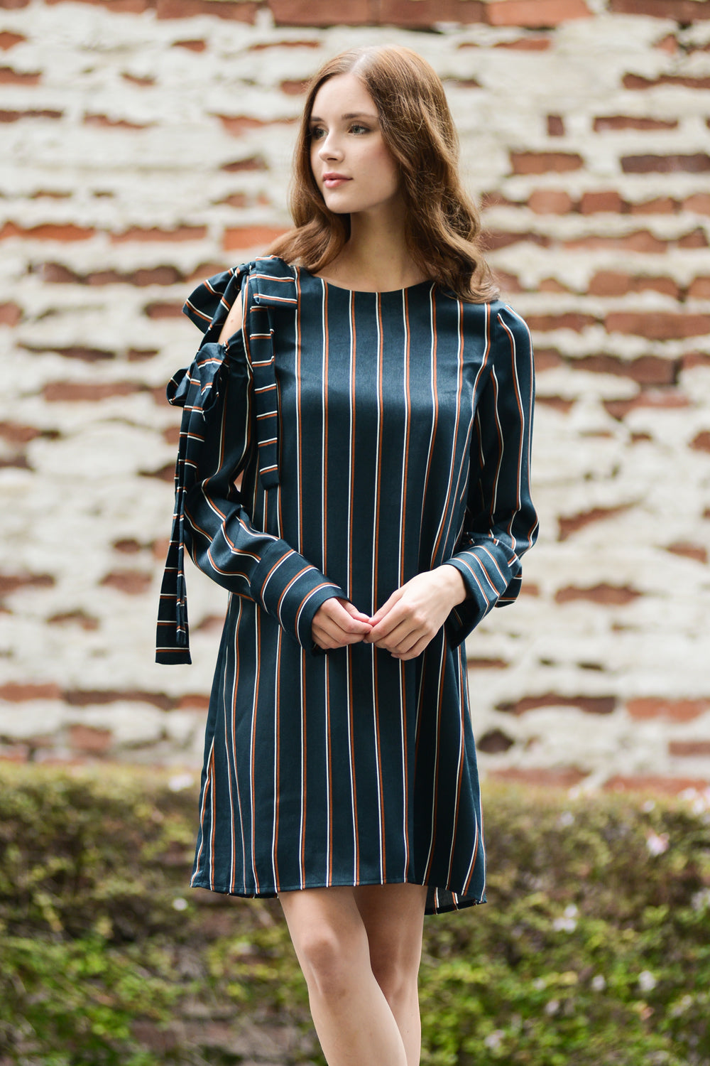 Multi Stripes Shift Velvet Dress